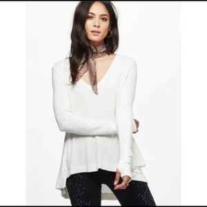 🖤 Free People Flowy Thermal Long Sleeve Top EUC